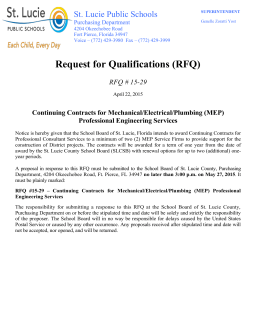 Request for Qualifications (RFQ) St. Lucie Public Schools RFQ # 15-29