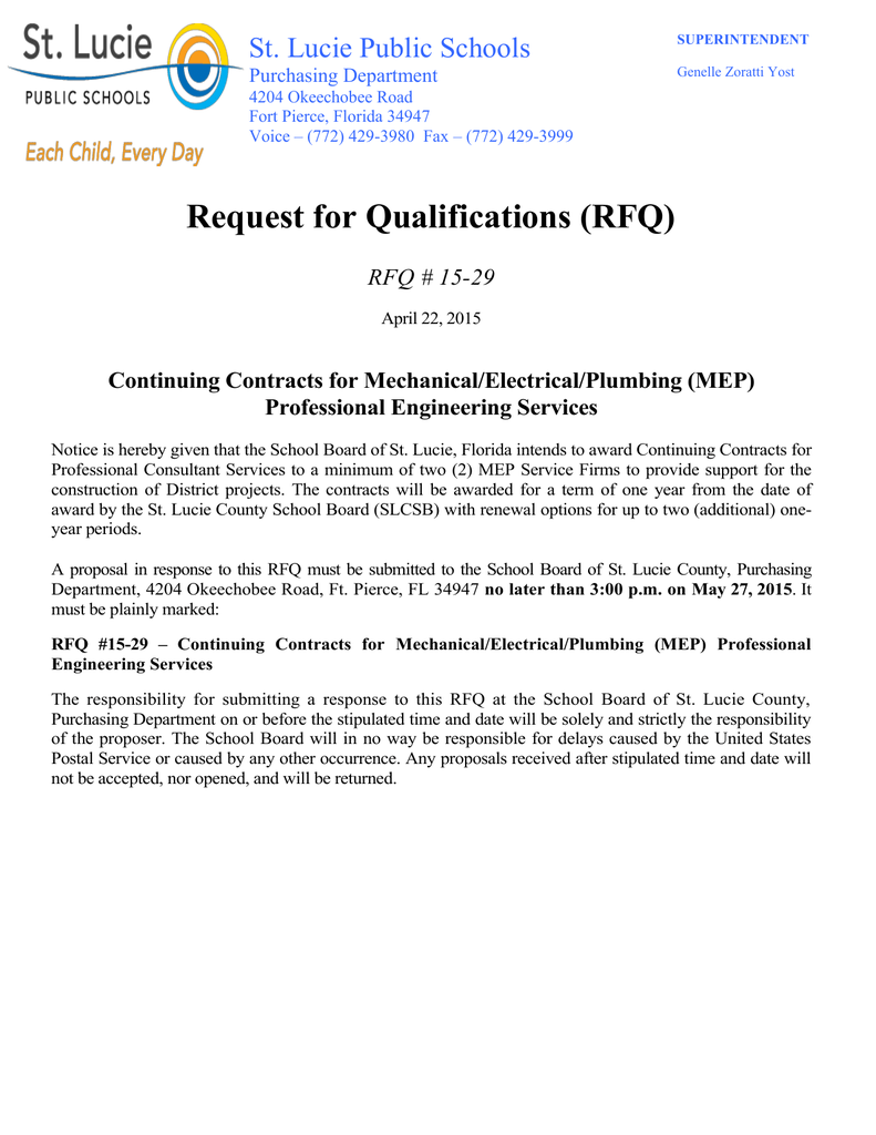 Request for Qualifications (RFQ) St  Lucie Public Schools