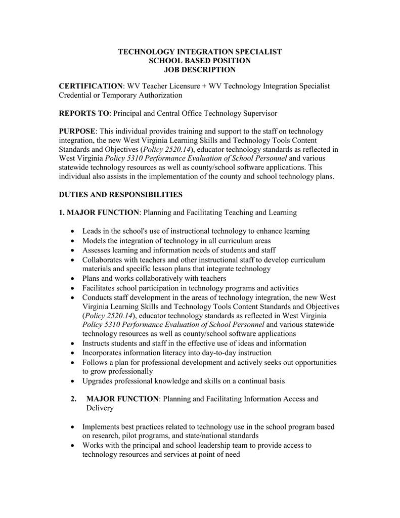 Technology Integration Specialist School Based Position Job