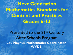Next Generation Mathematics Standards for Content and Practices Grades 6-12