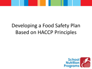 Developing a Food Safety Plan Based on HACCP Principles
