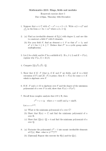 Mathematics 2215: Rings, fields and modules Homework exercise sheet 5