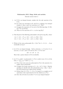 Mathematics 2215: Rings, fields and modules Tutorial exercise sheet 2 1.