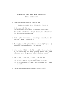 Mathematics 2215: Rings, fields and modules Tutorial exercise sheet 3