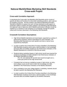 National MarkEd/State Marketing Skill Standards Cross-walk Project Cross-walk Correlation Approach