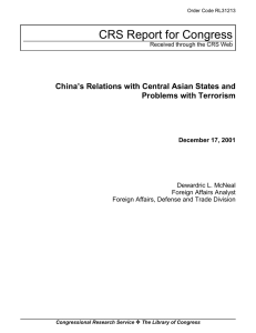 CRS Report for Congress China's Relations with Central Asian States and
