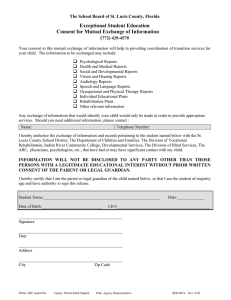Exceptional Student Education Consent for Mutual Exchange of Information (