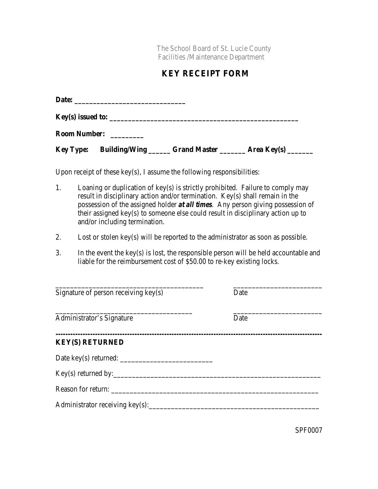 Key Receipt Form