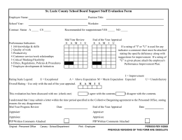 St. Lucie County School Board Support Staff Evaluation Form