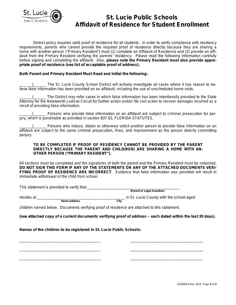 St Lucie Public Schools Affidavit Of Residence For Student Enrollment