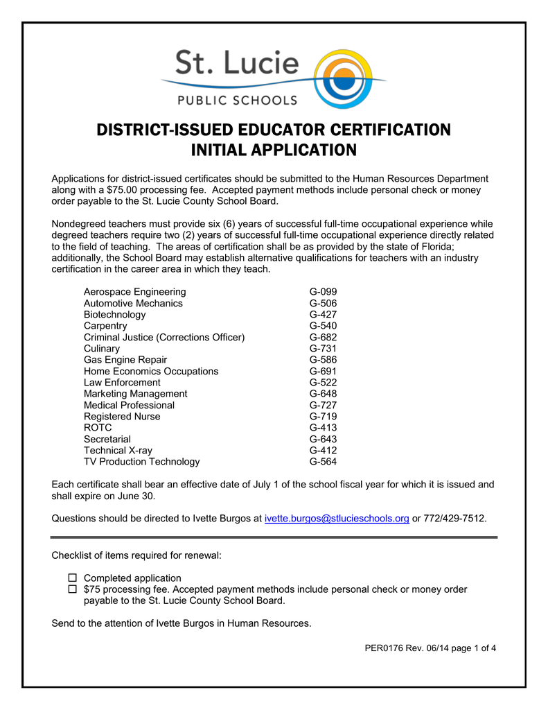District Issued Educator Certification Initial Application