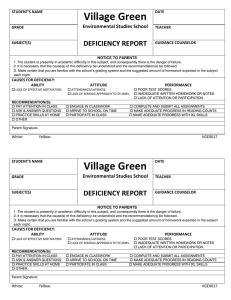 Village Green  DEFICIENCY REPORT