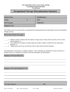 Occupational Therapy Discontinuation Summary