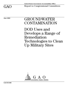 GAO GROUNDWATER CONTAMINATION DOD Uses and