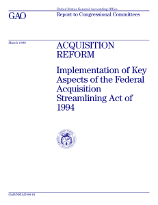 GAO ACQUISITION REFORM Implementation of Key