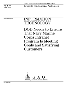 GAO INFORMATION TECHNOLOGY DOD Needs to Ensure