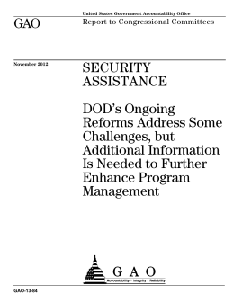 GAO SECURITY ASSISTANCE DOD's Ongoing