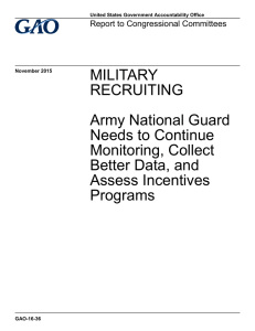 MILITARY RECRUITING Army National Guard Needs to Continue