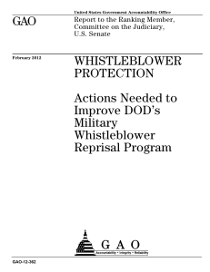 GAO WHISTLEBLOWER PROTECTION Actions Needed to