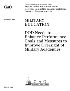 GAO MILITARY EDUCATION DOD Needs to