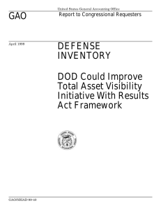 GAO DEFENSE INVENTORY DOD Could Improve