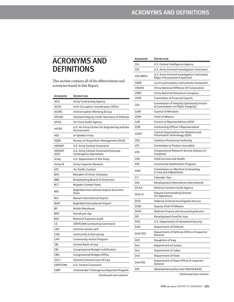 ACRONYMS AND DEFINITIONS ACRONYMS AND DEFINITIONS