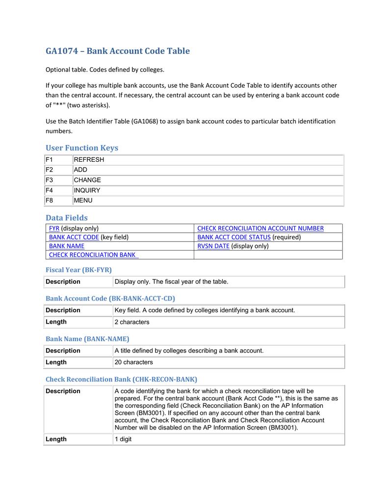 GA1074 – Bank Account Code Table