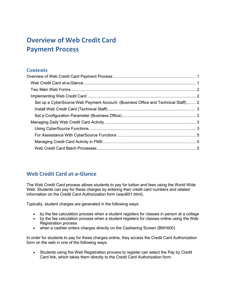 Overview of Web Credit Card Payment Process Contents