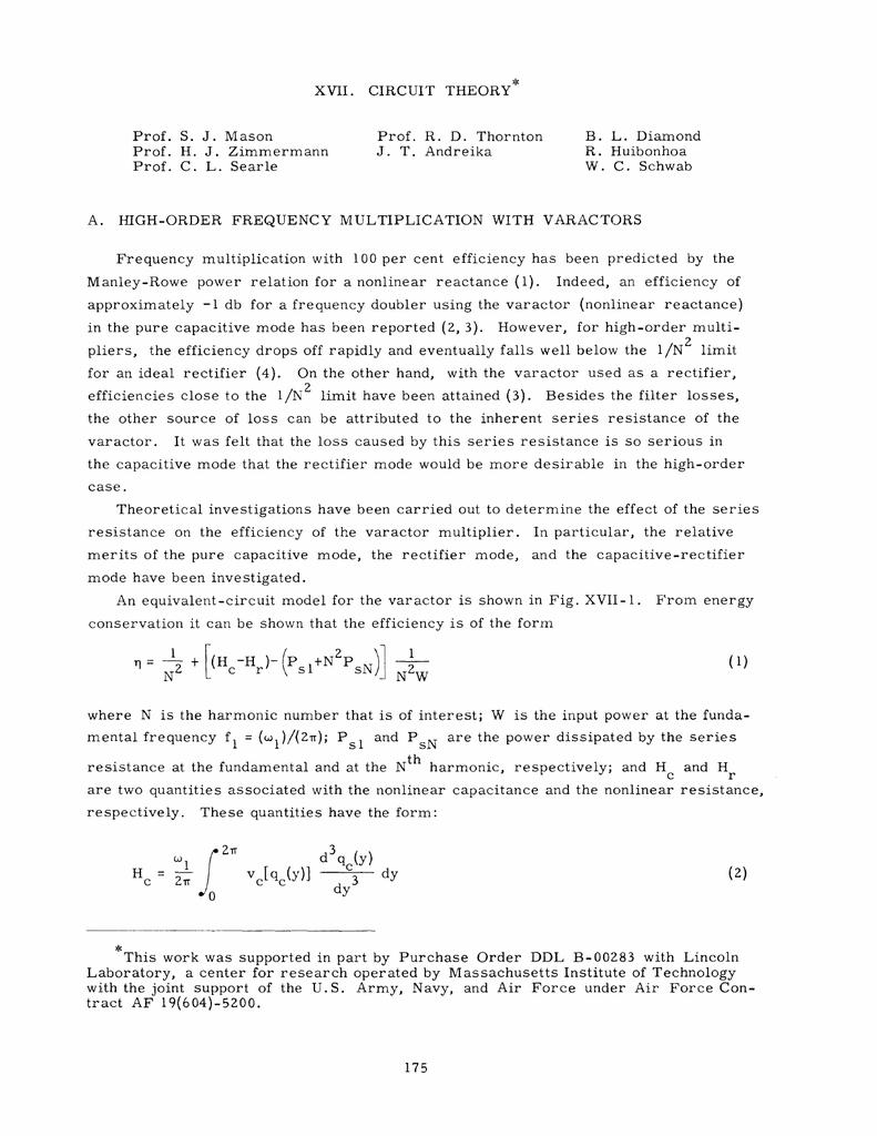 Xvii Circuit Theory Prof S J Mason Frequency Multiplication
