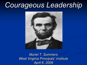 Courageous Leadership Muriel T. Summers West Virginia Principals' Institute April 6, 2008