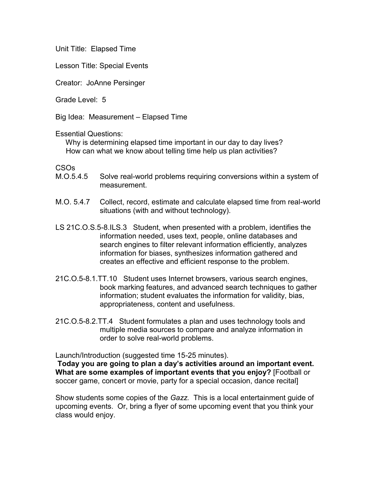 Unit Title: Elapsed Time Lesson Title: Special Events