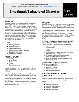 Emotional/Behavioral Disorder Fact Sheet