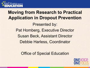 Moving from Research to Practical Application in Dropout Prevention