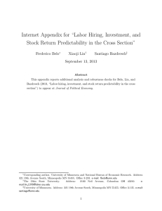 "Internet Appendix for ""Labor Hiring, Investment, and"