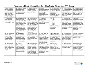 Summer Math Activities for Students Entering 2 Grade nd