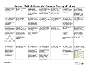 Summer Math Activities for Students Entering 3 Grade rd