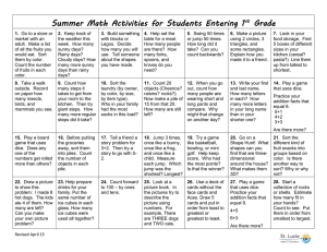 Summer Math Activities for Students Entering 1 Grade st