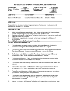 SCHOOL BOARD OF SAINT LUCIE COUNTY JOB DESCRIPTION Position No. 52063