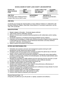 SCHOOL BOARD OF SAINT LUCIE COUNTY JOB DESCRIPTION  Position No. 63076