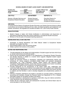 SCHOOL BOARD OF SAINT LUCIE COUNTY JOB DESCRIPTION  Position No. 61005