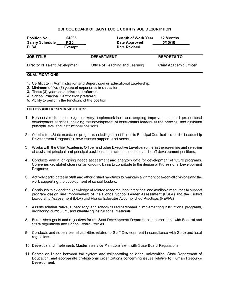School Board Of Saint Lucie County Job Description