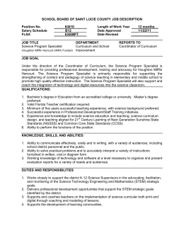 SCHOOL BOARD OF SAINT LUCIE COUNTY JOB DESCRIPTION  Position No. 63010