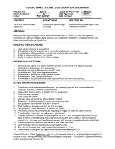 SCHOOL BOARD OF SAINT LUCIE COUNTY JOB DESCRIPTION  Position No. _82010