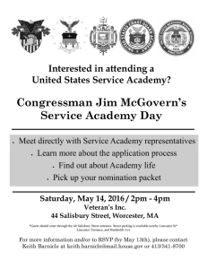 Congressman Jim McGovern's Service Academy Day Interested in attending a
