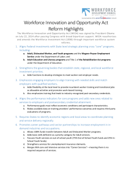 Workforce Innovation and Opportunity Act Reform Highlights