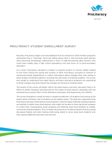 ProLiteracy Student enroLLment Survey
