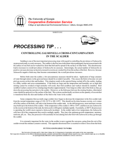 PROCESSING TIP . . . Cooperative Extension Service SALMONELLA IN THE SCALDER