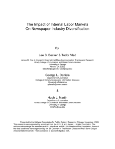The Impact of Internal Labor Markets On Newspaper Industry Diversification By