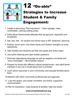 "12 ""Do-able"" Strategies to Increase Student & Family"