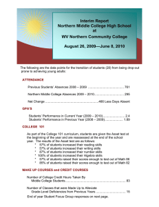 Interim Report Northern Middle College High School at